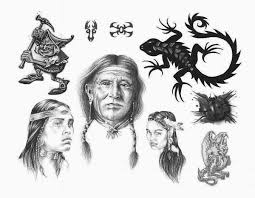 native american indian chief with crow tattoo design photos