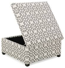 ottoman with patterned fabric gdfstudio estee gray geometric patterned fabric storage ottoman