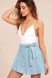 sweet light blue skirt floral print wrap skirt blue and white