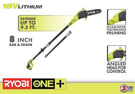 ryobi one 8 in 18 volt lithium ion cordless pole saw 1 3 ah