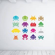 adesivi da parete space invaders colorati wall sticker adesivo da muro