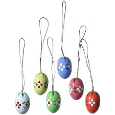 of 6 wooden easter egg ornaments made in erzgebirge germany