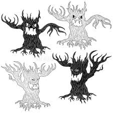 four evil tree stock vector illustration of character