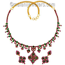 emerald gold necklace images Jewellery i 22 karat gold ruby emerald necklace set jpg