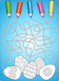 coloring book easter eggs maze game for children u2014 stock vector
