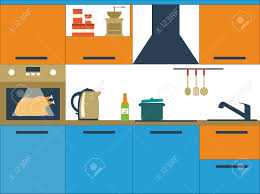 flat design vector illustration with kitchen utensils royalty free
