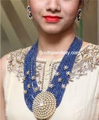 sapphire bead necklace images Sapphire beads mala with flat diamond pendant jewellery designs jpg