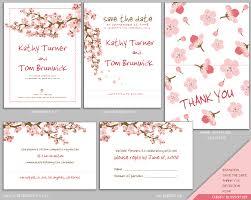 wedding stationery templates mujka cherry blossom wedding invitation set cherry blossom
