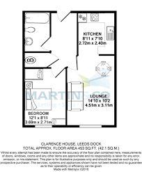 Clarence House Floor Plan Martin U0026 Co Leeds City 1 Bedroom Apartment To Rent In Clarence