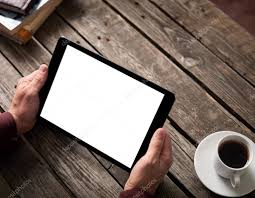 tablet computer with isolated screen in male hands u2014 stock photo