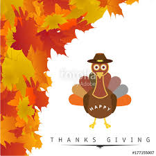 happy thanksgiving day creative typography with leaves and