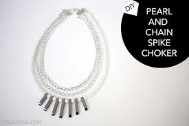 pearl bead necklace diy images Diy pearl and chain spike choker and how to finish a necklace jpg
