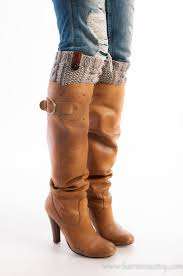 boot socks oatmeal boot cuff with leather and button