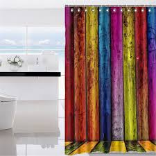 Polyester Shower Curtains New Rainbow Wood Waterproof Polyester Shower Curtain Bathroom Home