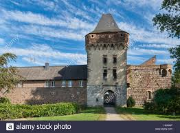 medieval towngate with tower at old german town of zons stock
