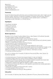 Health Care Resume Sample by Professional Enrollment Specialist Templates To Showcase Your