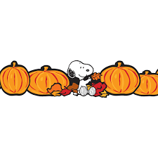 thanksgiving snoopy pictures peanuts fall pumpkins extra wide bulletin board trim eureka