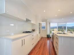Kitchen Design Galley Minimalist White Galley Kitchen Design And Wooden Floor Home Decor