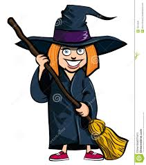 cartoon of little in a witches costume royalty free stock