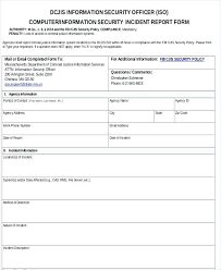 incident report form template word report forms template security incident report template