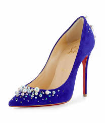 christian louboutin purple pop candidate pearly embellished suede