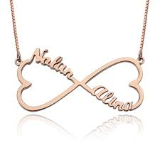 necklace names gold plated heart infinity name necklace