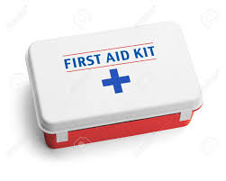 Blue And White Flag Cross Plastic First Aid Kit Box Thats Red White And Blue Isolated On