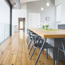 houston red pine flooring dining room modern with ductwork blue