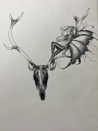 fairy on deer skull tattoo design by sharshar27 on deviantart
