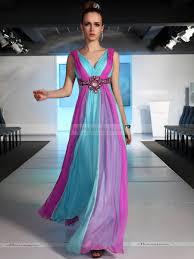 two tone sleeveless full length draped chiffon prom dress with