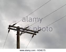wood electric post and its wires stock photo royalty free image