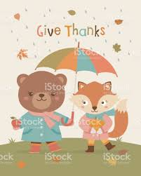 background for thanksgiving cute bear and fox cartoons illustration with autumn background for