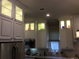 Upper Kitchen Cabinets Lighted Glassed Stacked Upper Kitchen Cabinets