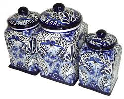 blue and white kitchen canisters mexican inspired home accessories