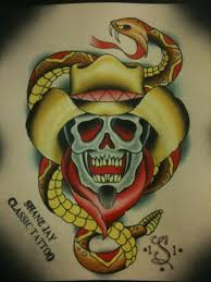 cowboy skull with snake tattoo design tattoos book