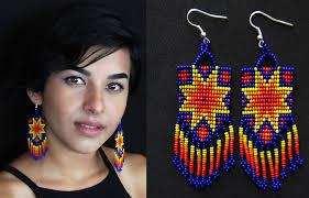 Native American Beaded Earrings Huichol Native American Style Starburst Earrings Tribal Boho Sun Earrings