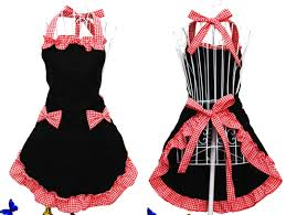 romantic bow apron black and red 16 99