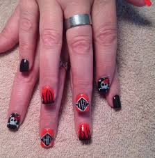 gel polish harley davidson motorcycle skulls bows nail art