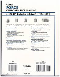 used 1984 1999 force 4 150 hp outboard boat engine repair manual