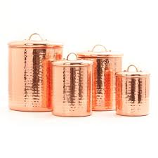 copper kitchen canister sets hammered copper 4 pc kitchen canister set