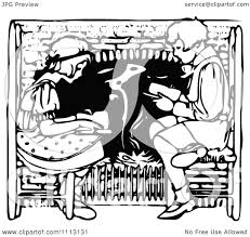 clipart vintage black and white boy and reading by a