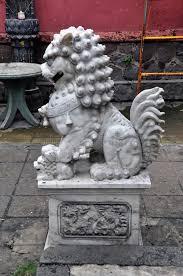 lion dog statue large grey marble komainu lion dog statue stock photo