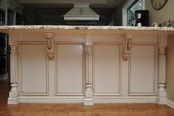 kitchen island with corbels combining two unlikely designs reeded island posts and acanthus