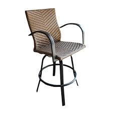 exterior outdoor wicker swivel bar stools with cast iron armrest