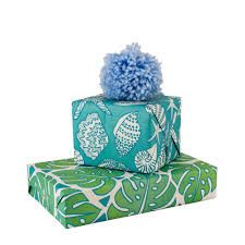 turquoise wrapping paper monstera jungle shellini eco wrapping paper designed by