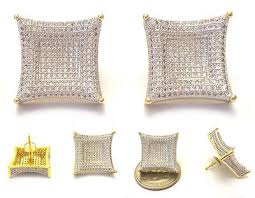 jojo earrings lil jojo iced out 18k yellow gold finish lab diamond back stud