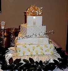 step by step directions on stacking the bows and package cake