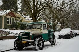 old parked cars 1959 willys jeep pickup transportation
