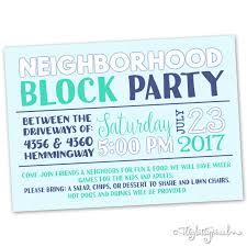 Reunion Invitation Card Neighborhood Block Party Invitation Announcement Invite Card