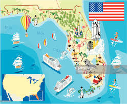 Map Of Kissimmee Cartoon Map Of Florida Vector Art Getty Images